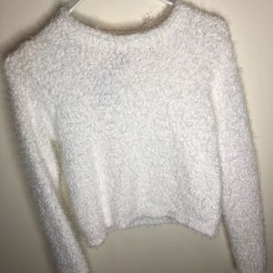 fuzzy white cropped sweater